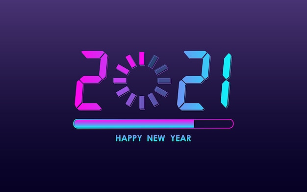 Feliz ano novo 2021 com barra de carregamento na cor neon