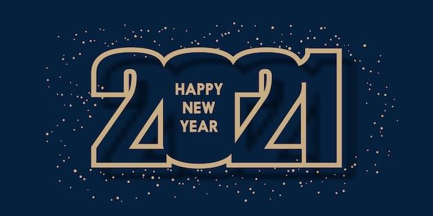 Feliz ano novo 2021 com design de número