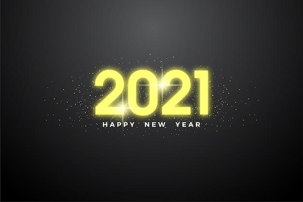 Feliz ano novo 2021 com elegantes números amarelos brilhantes.