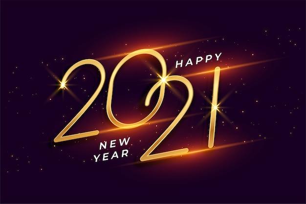 Feliz ano novo 2021 com fundo dourado brilhante