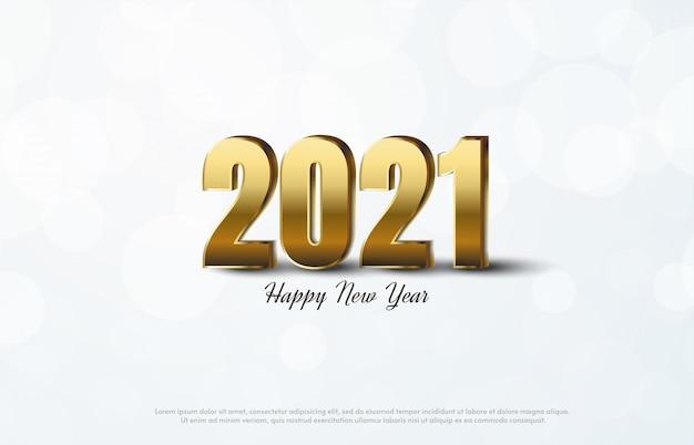 Feliz ano novo 2021 com ilustração 3d dos números dourados.