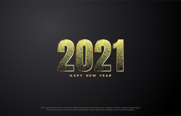Feliz ano novo 2021 com ilustração de número com glitter dourados.