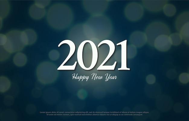 Feliz ano novo 2021 com ilustração de números brancos clássicos.