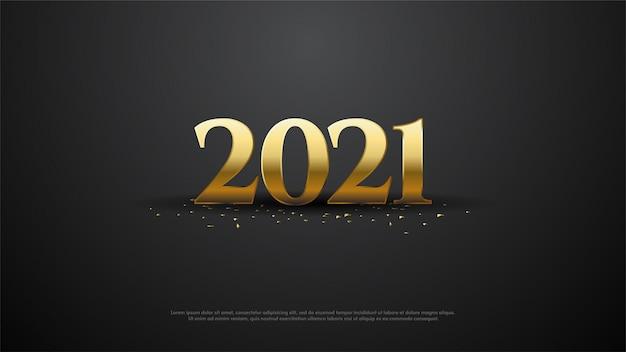 Feliz ano novo 2021 com ilustração de números dourados.