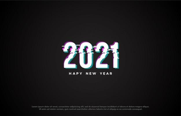 Feliz ano novo 2021 com ilustração de números fatiados.
