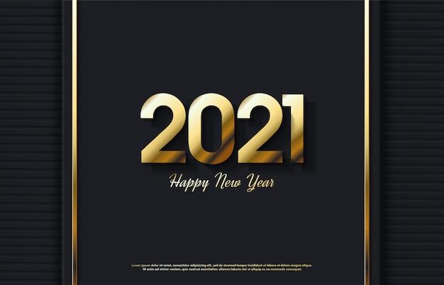 Feliz ano novo 2021 com ilustração elegante de figuras de ouro 3d.