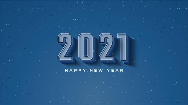 Feliz ano novo 2021, com ilustrações de figuras 3d em azul escuro.