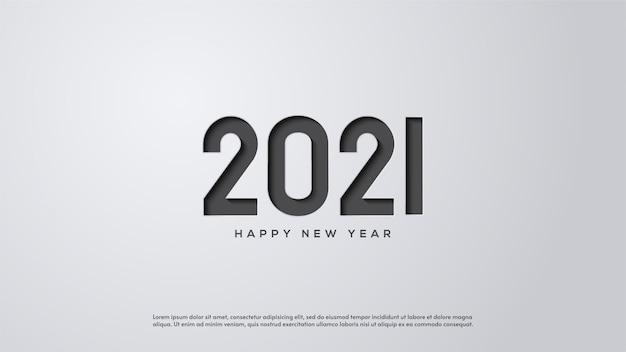 Feliz ano novo 2021, com ilustrações de figuras cinza pressionando papel branco.