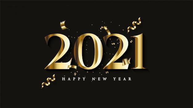 Feliz ano novo 2021, com ilustrações de figuras de ouro com pedaços de fita colorida ouro.