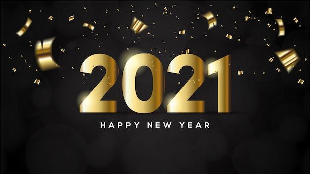 Feliz ano novo 2021, com ilustrações de figuras de ouro e pedaços de papel dourado.