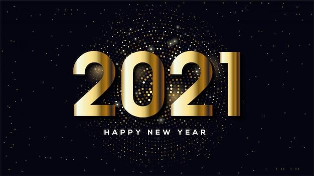Feliz ano novo 2021, com ilustrações de figuras douradas e meios-tons dourados.