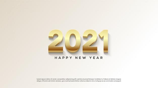 Feliz ano novo 2021, com ilustrações de figuras grossas de ouro sobre fundo branco.