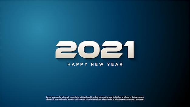 Feliz ano novo 2021, com ilustrações de números 3d brancos com o conceito de esporte.