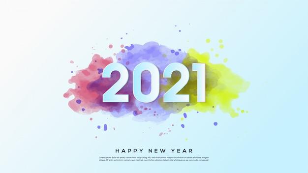 Feliz ano novo 2021, com ilustrações de números brancos com desenhos em aquarela.