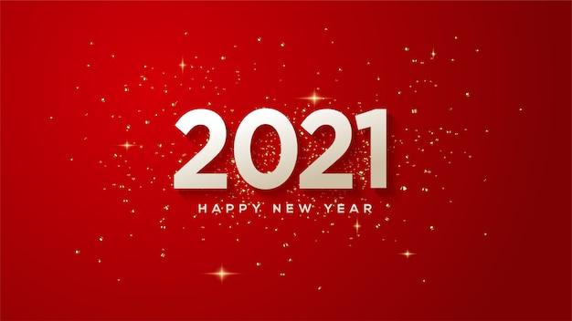 Feliz ano novo 2021, com ilustrações de números brancos com luzes douradas espalhadas ao redor.