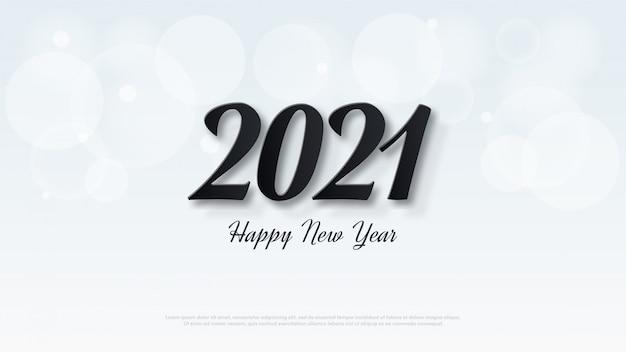 Feliz ano novo 2021 com ilustrações numéricas pretas clássicas.