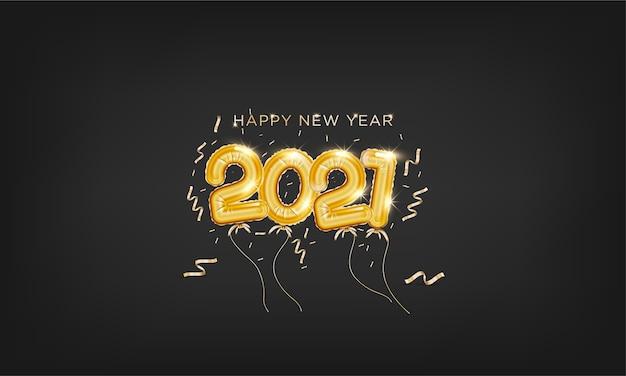 Feliz ano novo 2021 com modelo de plano de fundo em estilo balão dourado