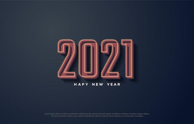 Feliz ano novo 2021 com números de linhas 3d.