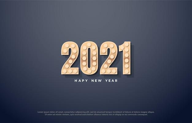Feliz ano novo 2021 com números dourados com luzes.