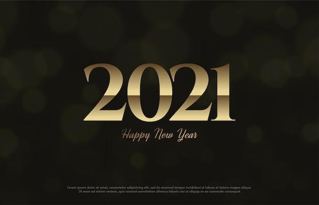 Feliz ano novo 2021 com números dourados macios e escuros.