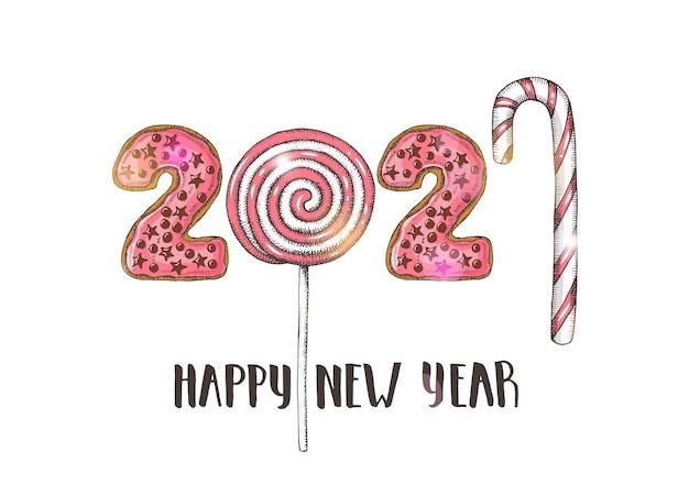 Feliz ano novo 2021 com pirulitos rosa mão desenhada.