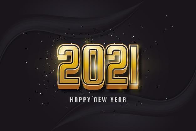 Feliz ano novo 2021 com texto dourado 3d em fundo preto.