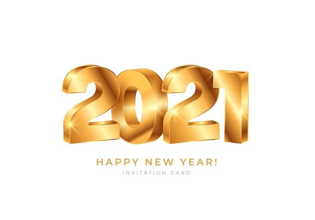 Feliz ano novo 2021 com tipografia de números dourados
