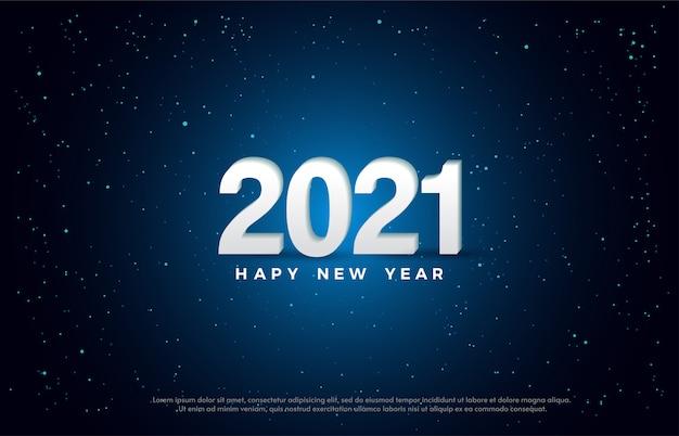Feliz ano novo 2021 com uma ilustração de número 3d branco.