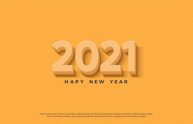 Feliz ano novo 2021 com uma ilustração de número 3d laranja.