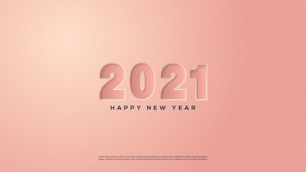 Feliz ano novo 2021, com uma ilustração de um número rosa pressionando papel rosa.