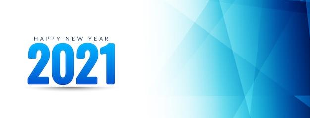 Feliz ano novo 2021 desenho de banner geométrico azul