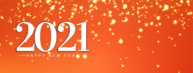 Feliz ano novo 2021 design de banner brilhantes