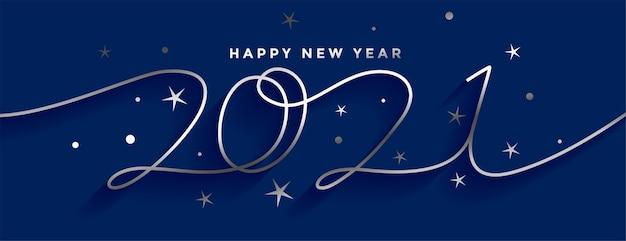 Feliz ano novo 2021 design de banner em estilo linha de prata