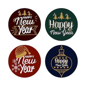 Feliz ano novo 2021 design de selos de selo, comemoração de boas-vindas e tema