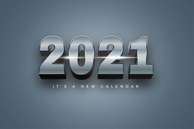 Feliz ano novo 2021 feriado cor de fundo prateado