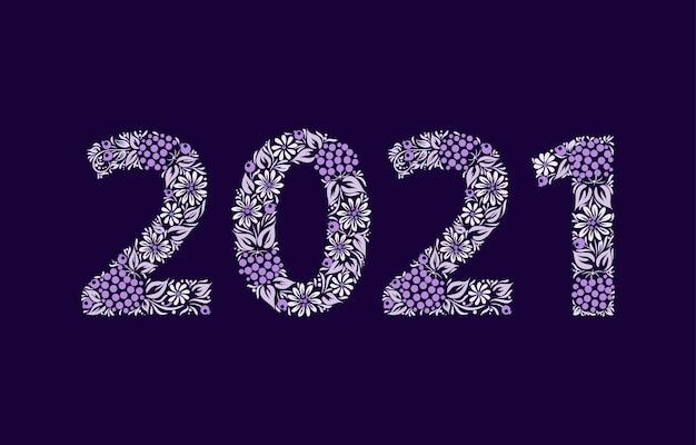 Feliz ano novo 2021. flor étnica.