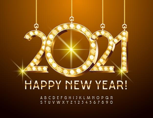 Feliz ano novo 2021. fonte chique e brilhante. letras e números do alfabeto dourado