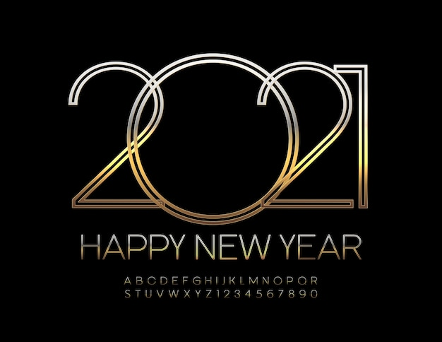Feliz ano novo 2021. fonte elegante. conjunto de letras e números do alfabeto dourado