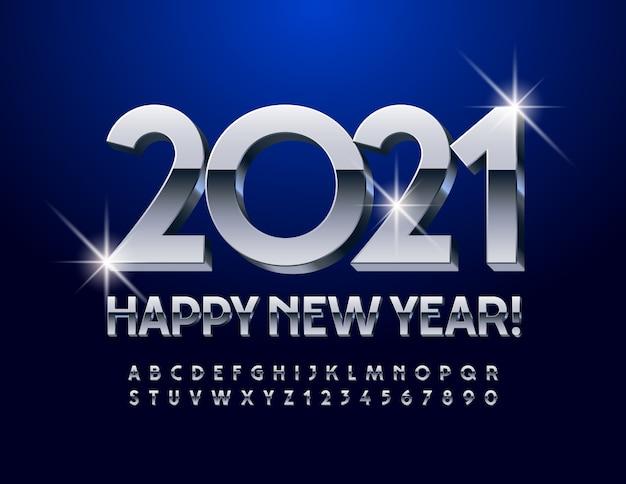 Feliz ano novo 2021. fonte moderna reflexiva. conjunto de letras e números do alfabeto 3d de prata elegante.