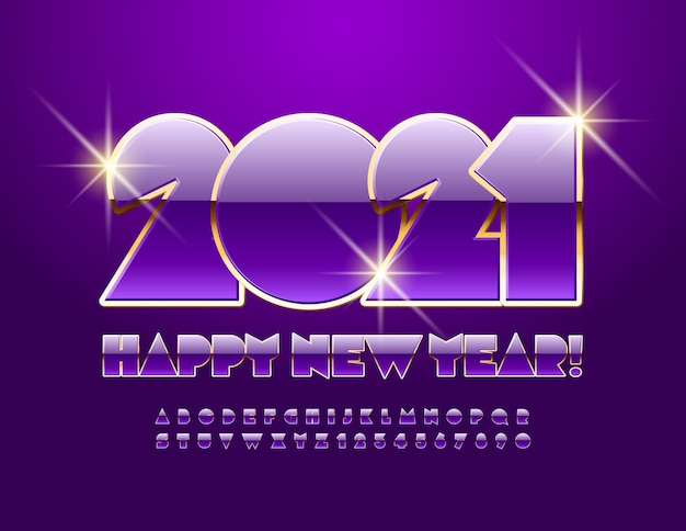 Feliz ano novo 2021. fonte violeta e dourada. letras e números do alfabeto