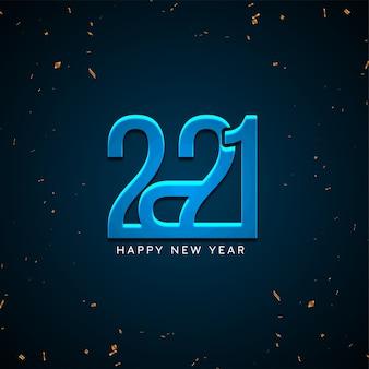 Feliz ano novo 2021, fundo azul brilhante