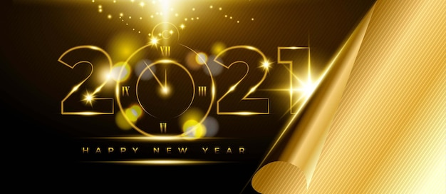 Feliz ano novo 2021, fundo com número dourado e relógio