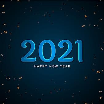 Feliz ano novo 2021 fundo de texto em azul brilhante