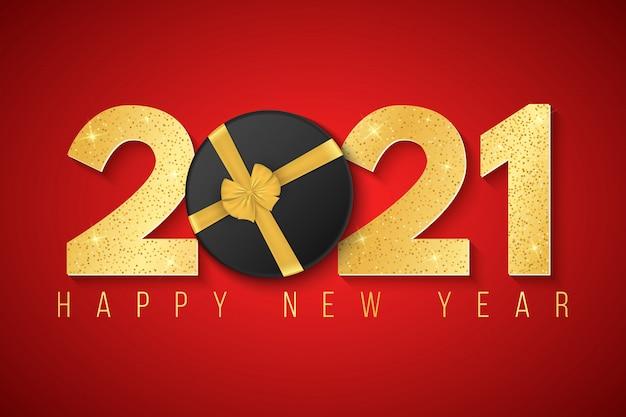 Feliz ano novo 2021. fundo festivo e números luxuosos 3d dourados com glitter sobre um fundo vermelho.
