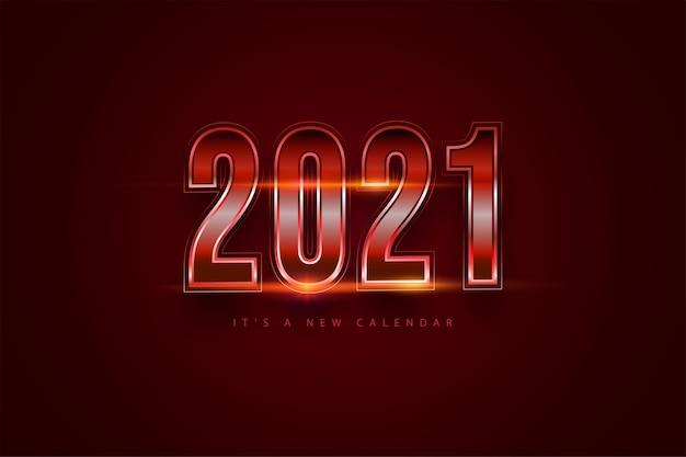 Feliz ano novo 2021 fundo gradiente vermelho