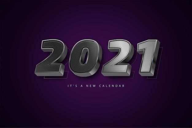 Feliz ano novo 2021 fundo prata luxo