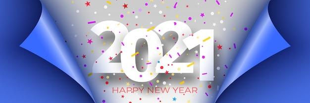 Feliz ano novo 2021. ilustração de fita azul com bordas curvas.