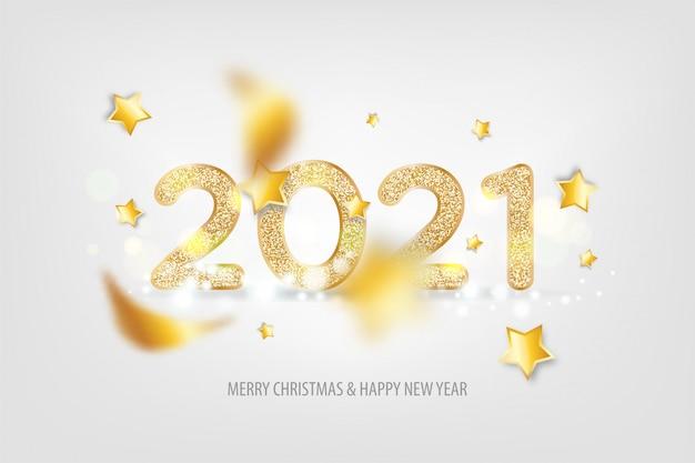 Feliz ano novo 2021 luz tradicional letras texto