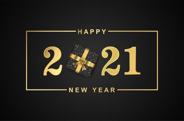 Feliz ano novo 2021 moderno com caixa de presente em fundo preto.
