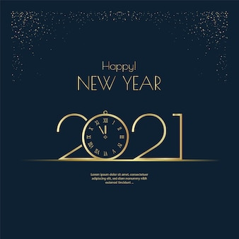 Feliz ano novo 2021, números dourados, tipografia, design de saudação